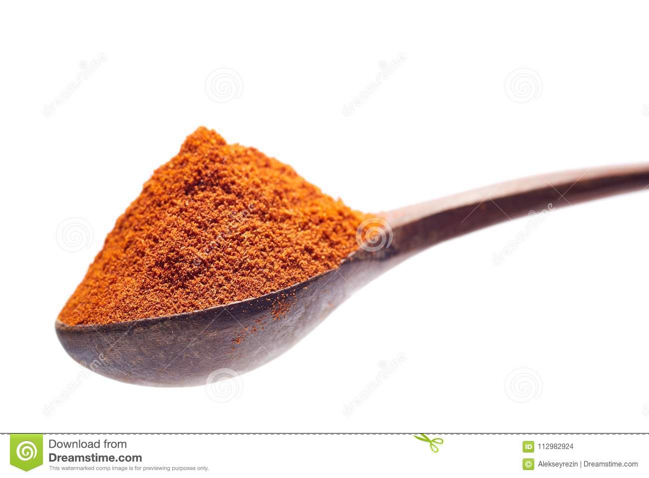 Shichimi pepper in Wooden spoon on white background,Blend of spices