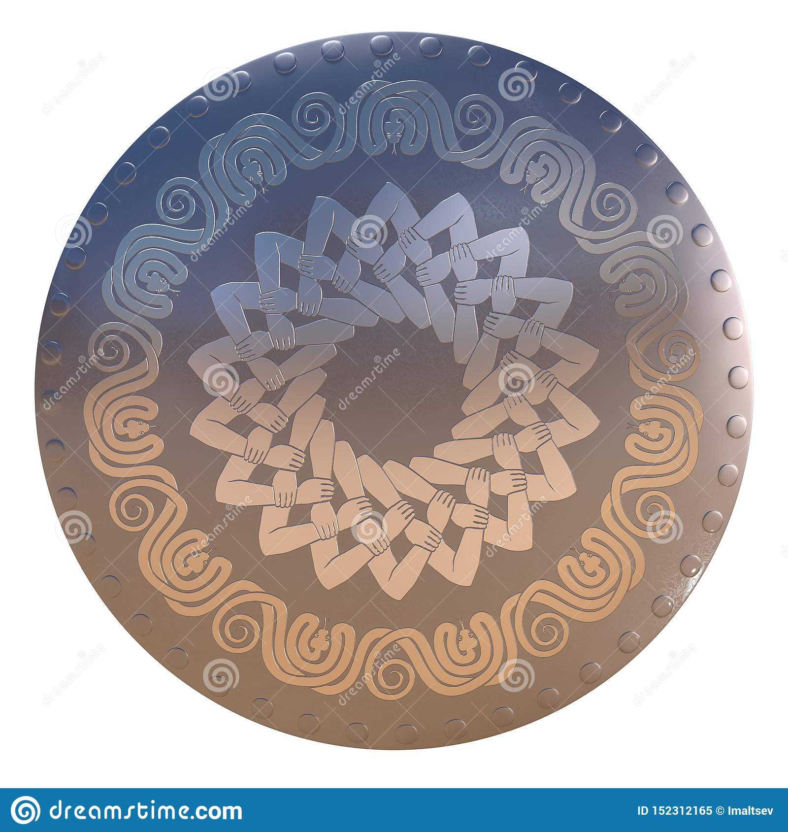 Shield with eleven snakes and interlocked hands