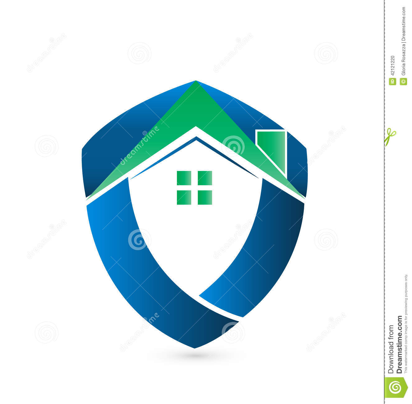 Shield green house logo stock vector image 42121220 for Companies housse