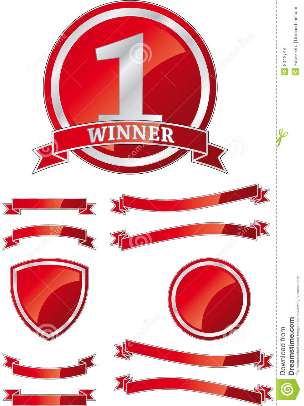 Shield And Ribbon Design Element Template