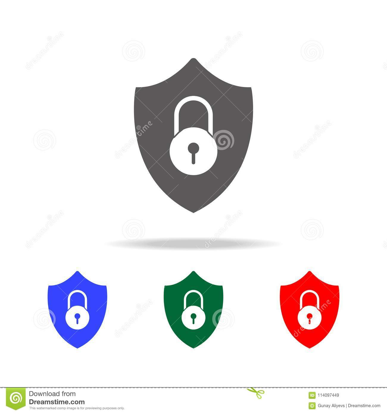 Shield Security Icon  Lock Security Icon   Elements Of Cyber