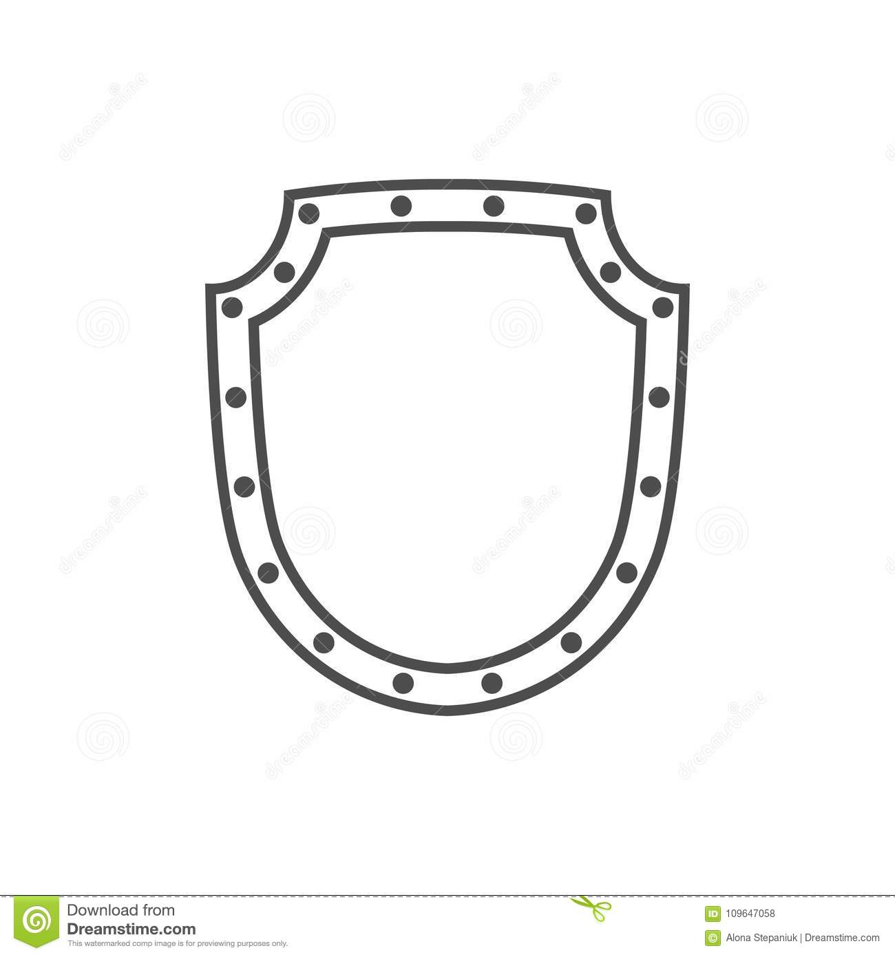 Shield Shape Icon Black Silhouette Sign Isolated On White Symbol