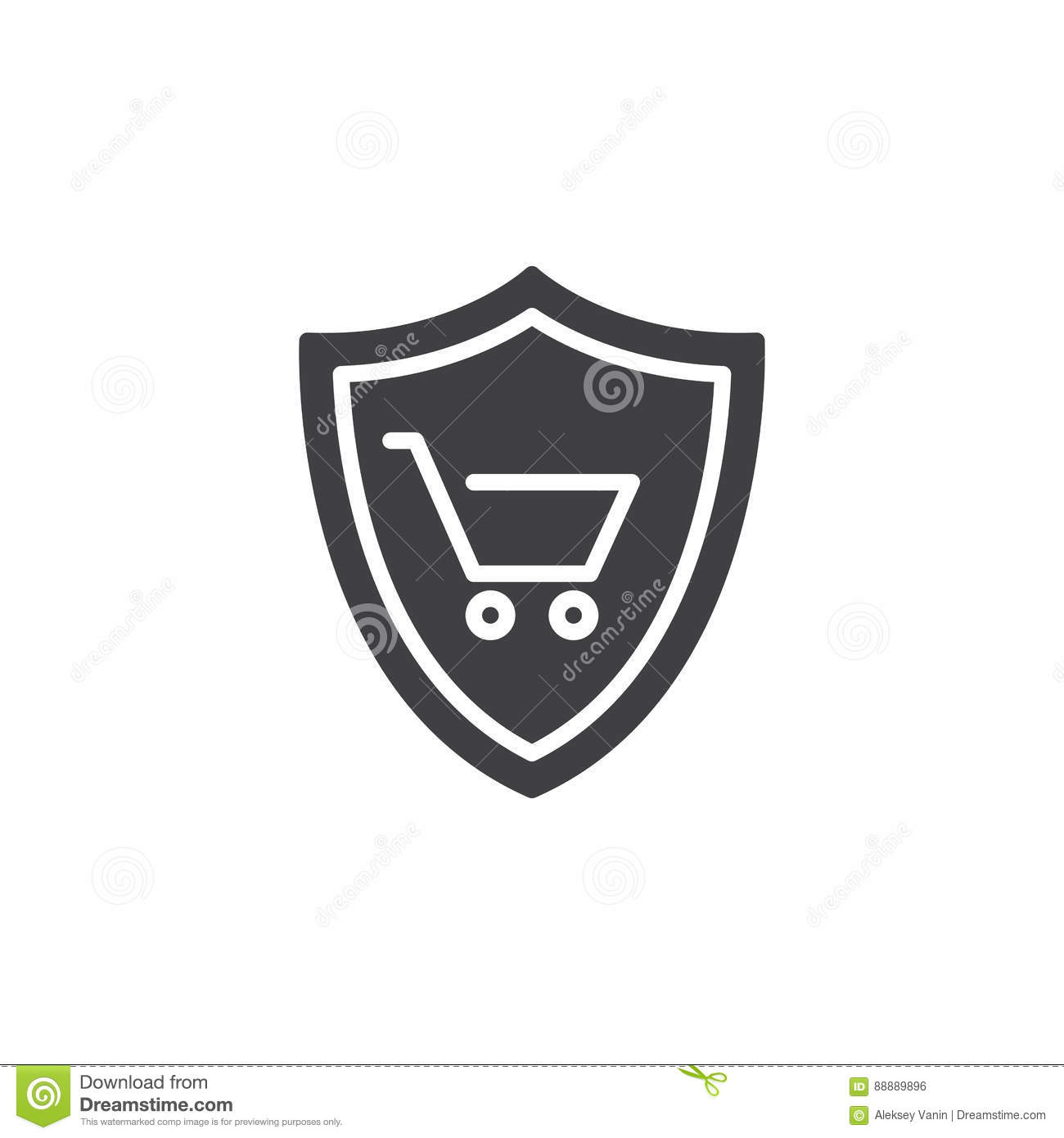 Buyer Protection: Shield With Shopping Cart Icon Vector Stock Vector