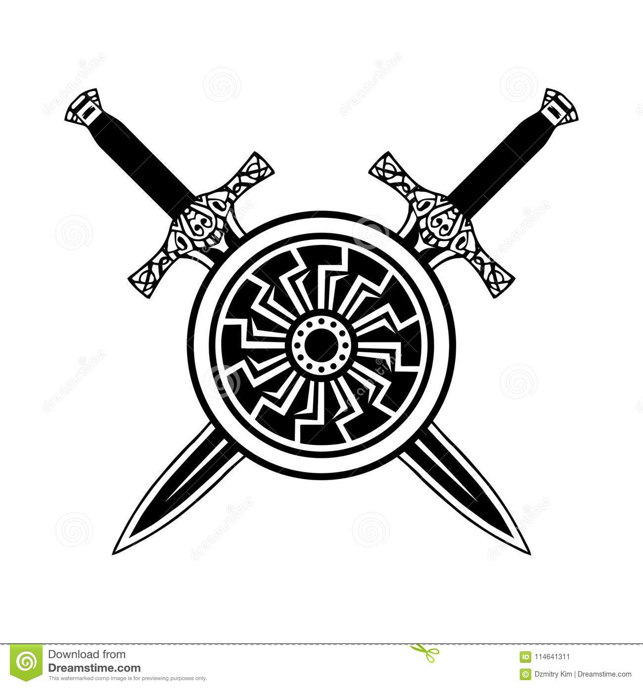 Shield And Sword Black White Icon Stock Vector Illustration Of