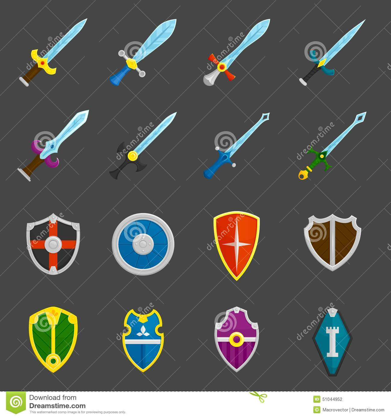 Crusader Shields And Swords Cartoon Vector Cartoondealer
