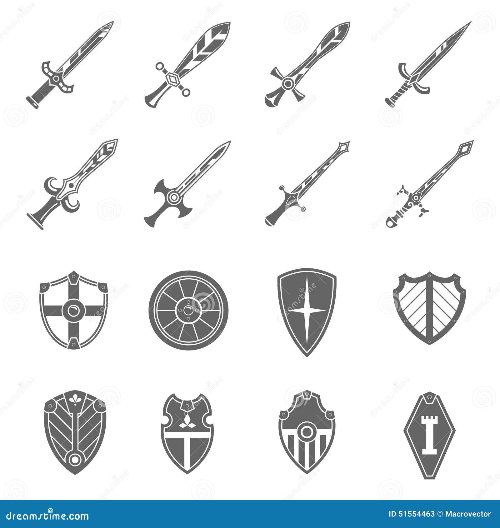Crusader Shields And Swords Cartoon Vector Cartoondealer