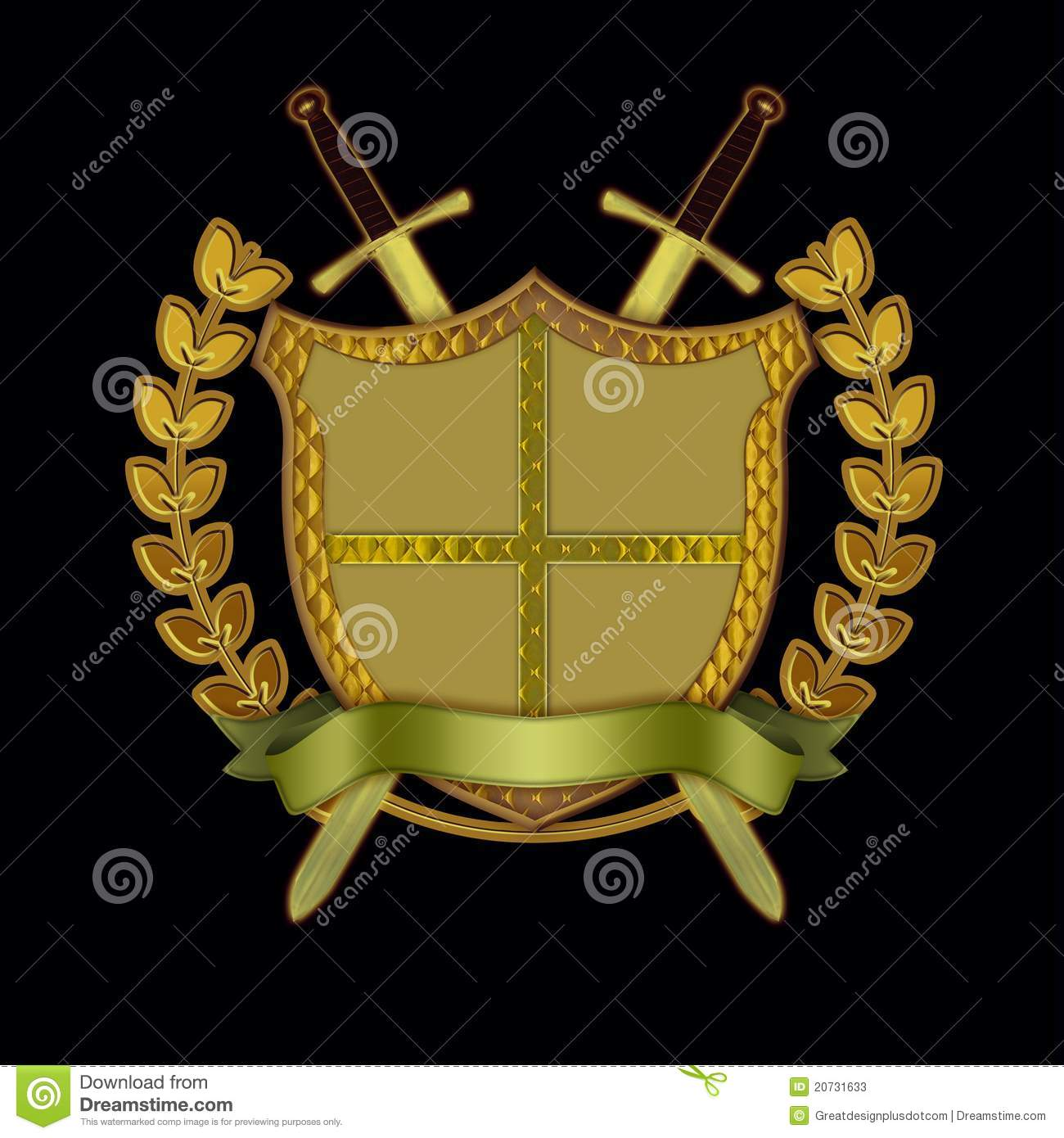 shield with swords  scroll  and olive branch stock photos