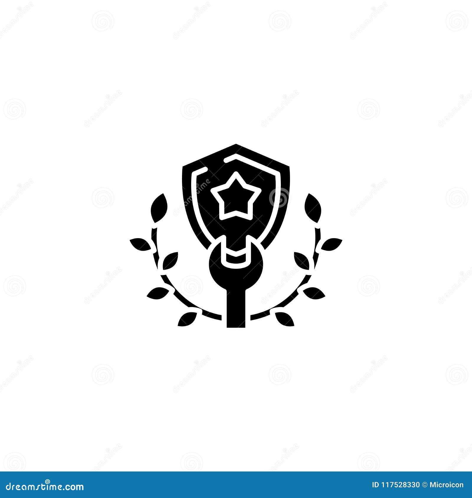 Shield wreath black icon concept. Shield wreath flat vector symbol, sign, illustration.