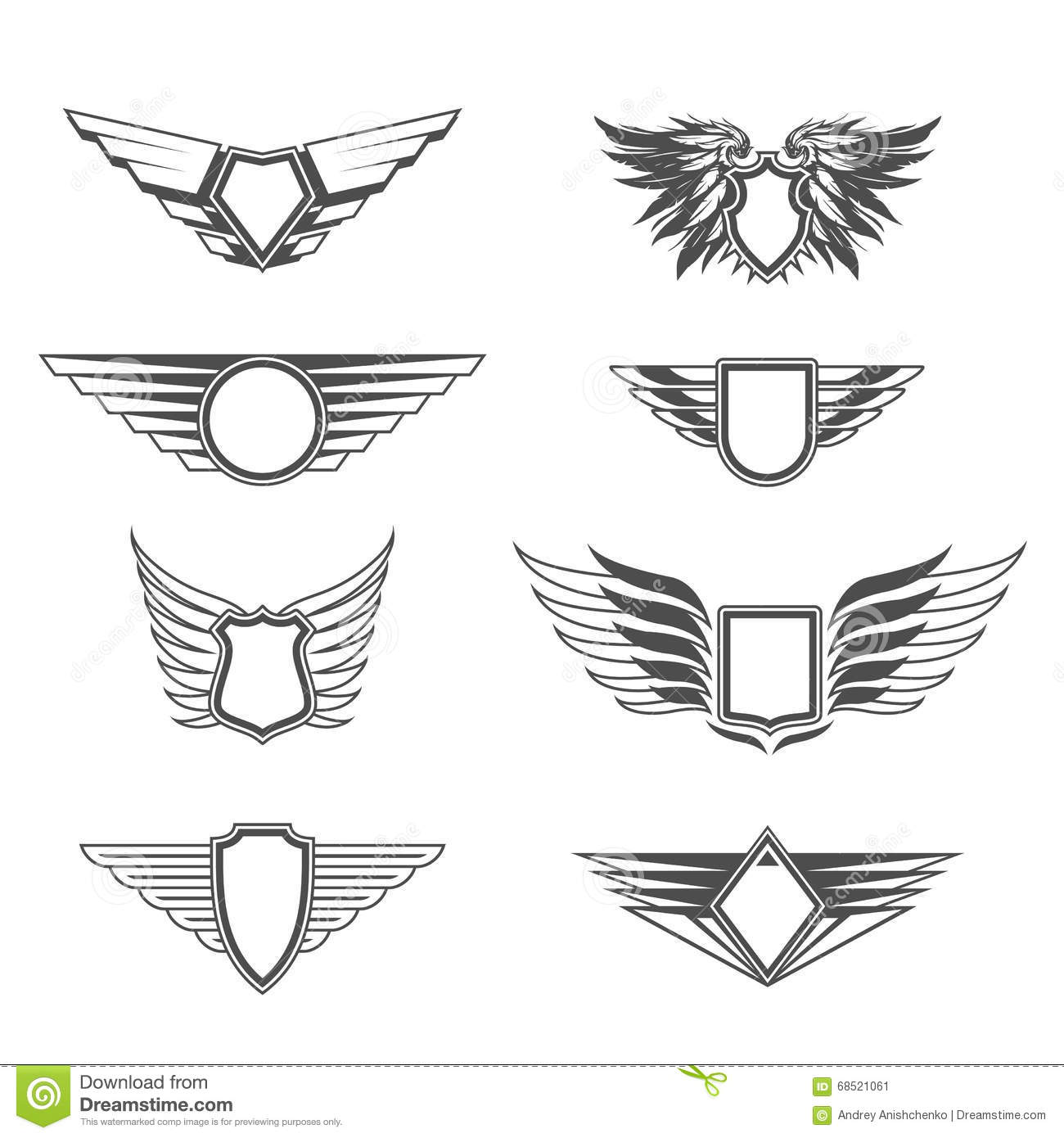 Shields With Wings Templates Stock Vector - Illustration of label ...
