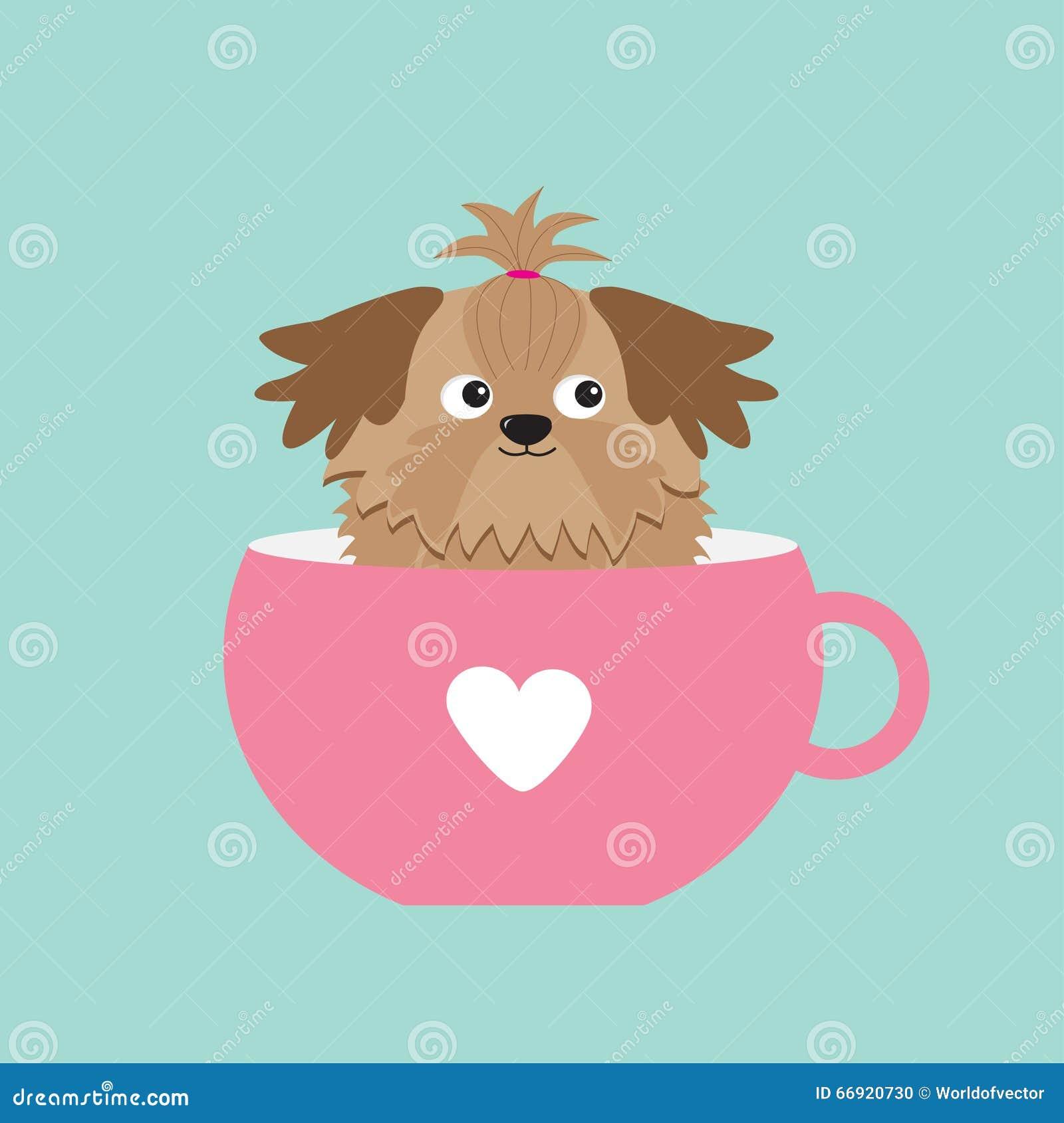 Cute Cartoon Character Design : Shih tzu dog sitting in pink cup with heart cute cartoon