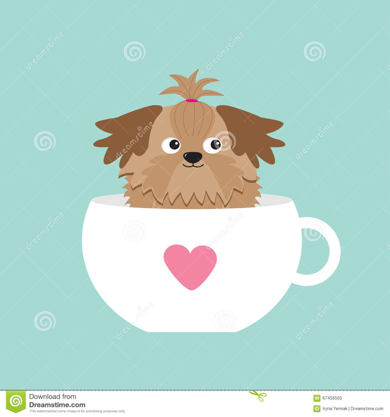 Shih Tzu Dog Sitting In Pink Cup With Heart Cute Cartoon Character