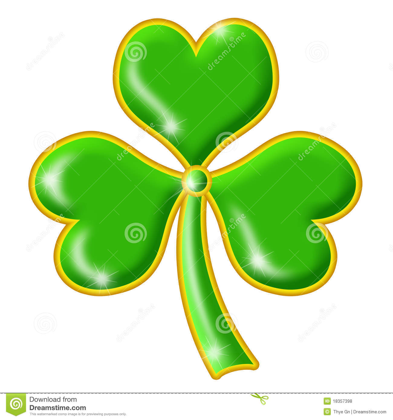 Shimmering Green Shamrock With Gold Trim Royalty Free Stock Photos ...