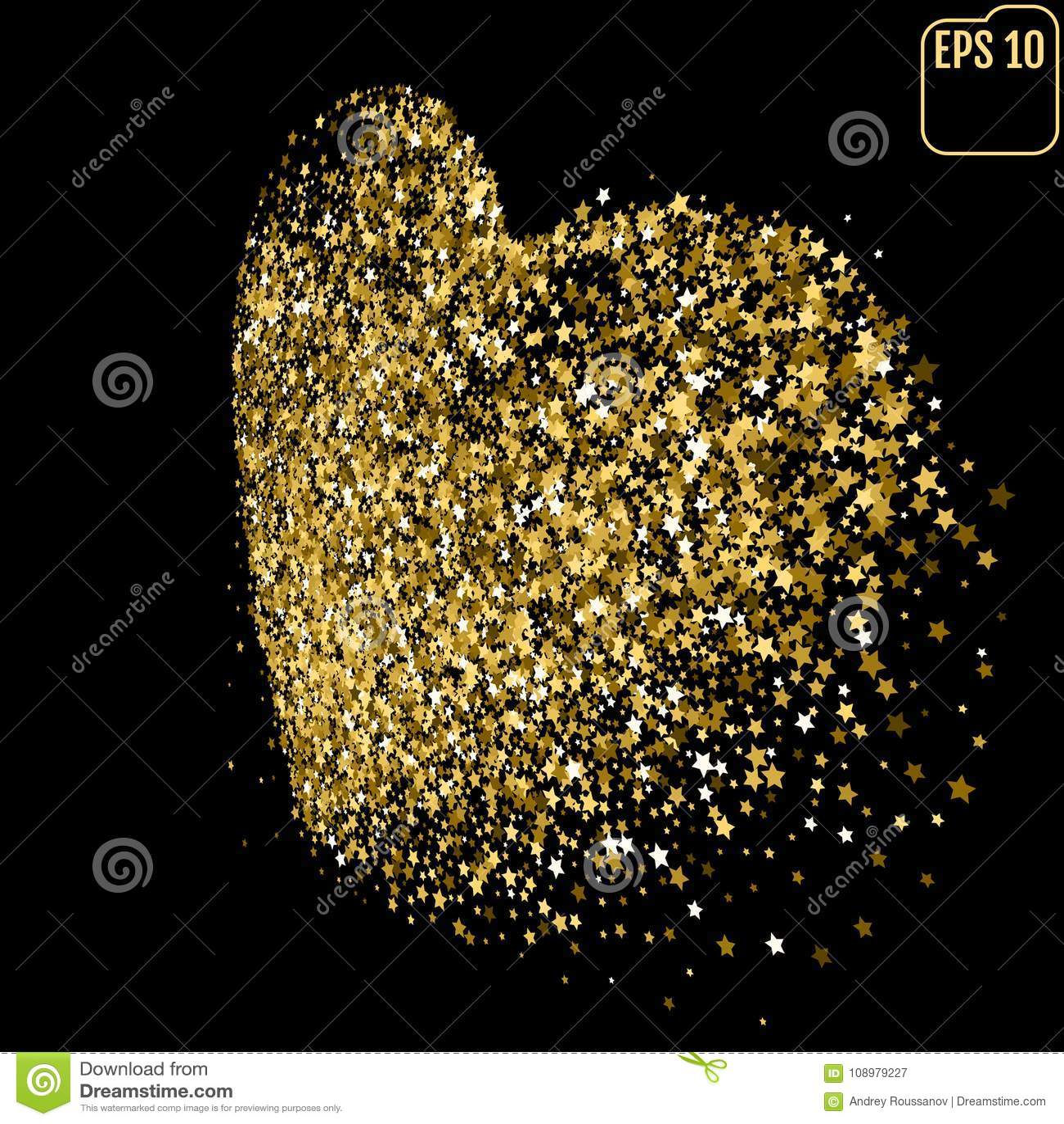 Shimmering Stars Confetti Heart  Greeting Card, Wedding