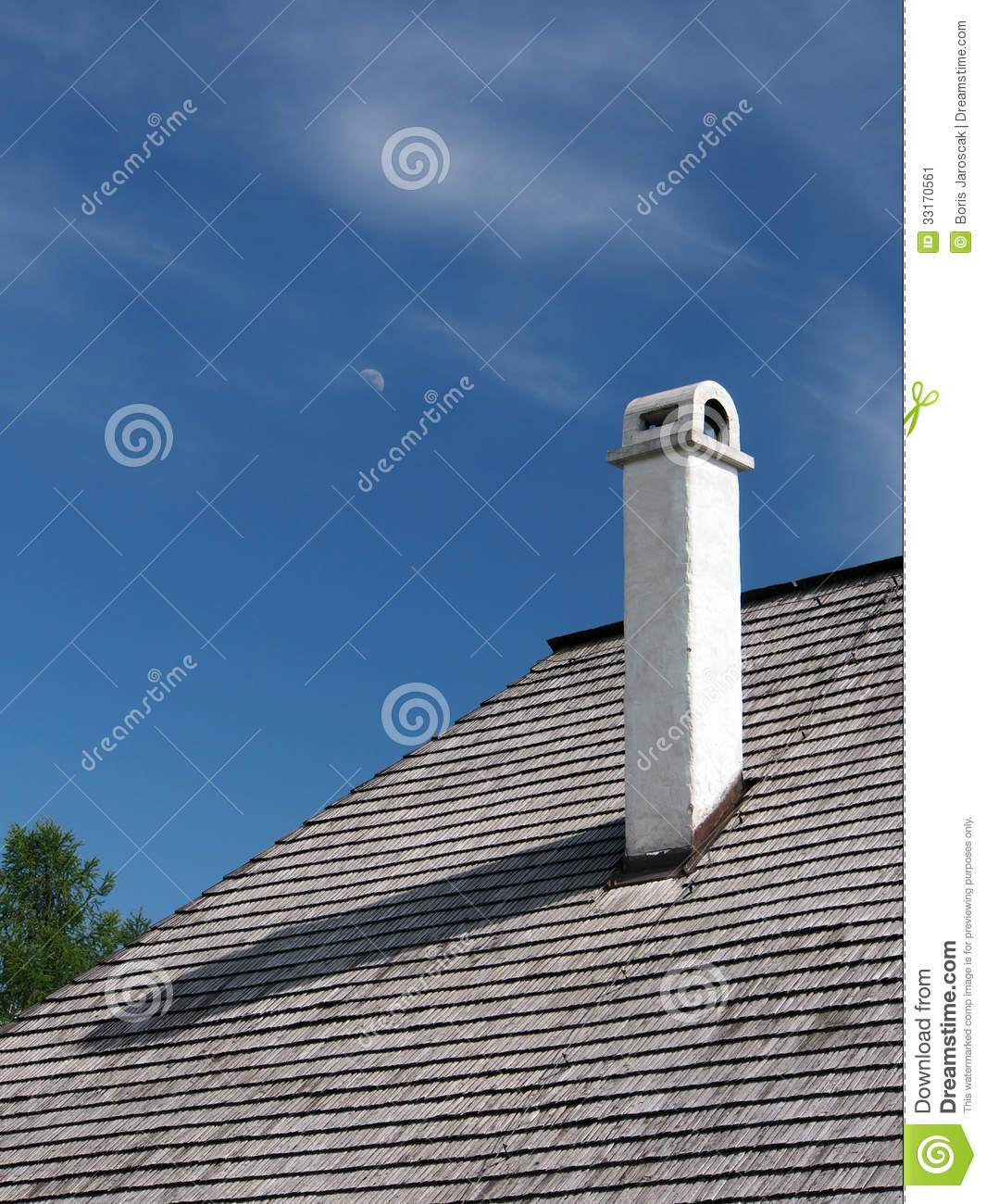 Shingle Roof With Chimney And Moon Stock Image Image