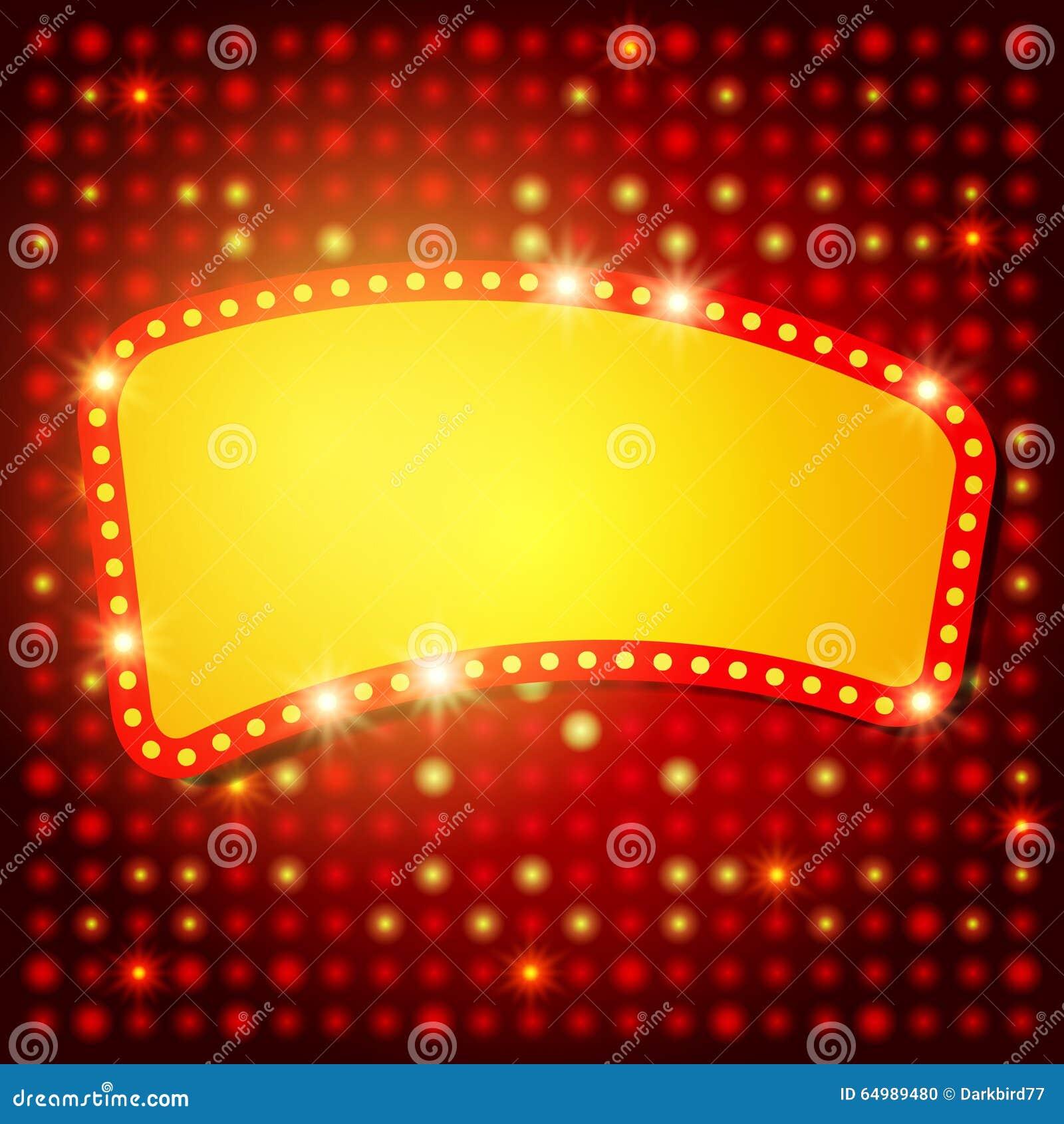 Shining Background With Retro Casino Light Banner Stock