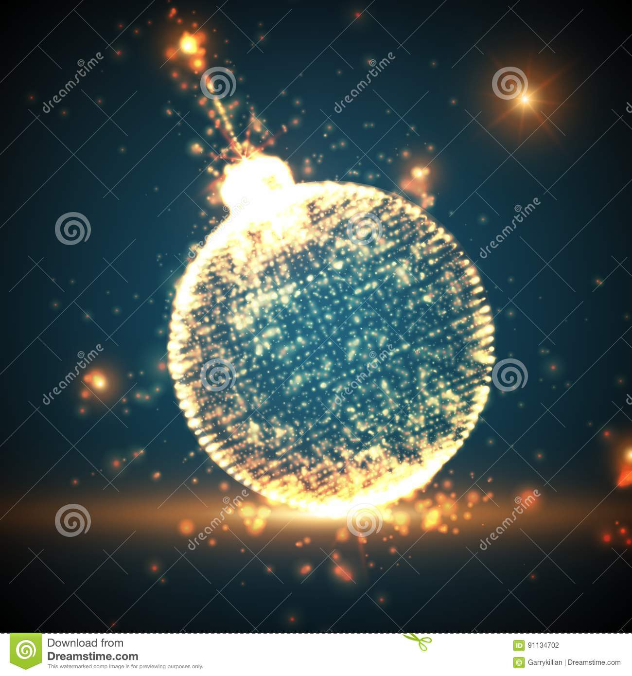 shining christmas ball on the blue background with glowing particles flying around abstract vector new