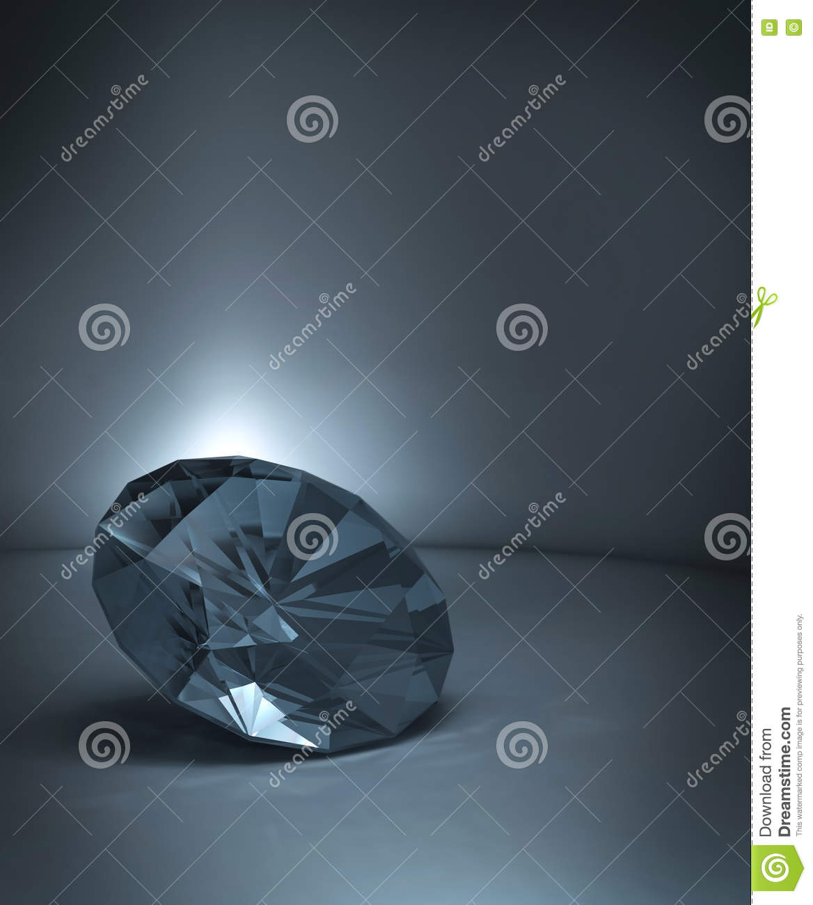 Shining crystal diamond on blue background