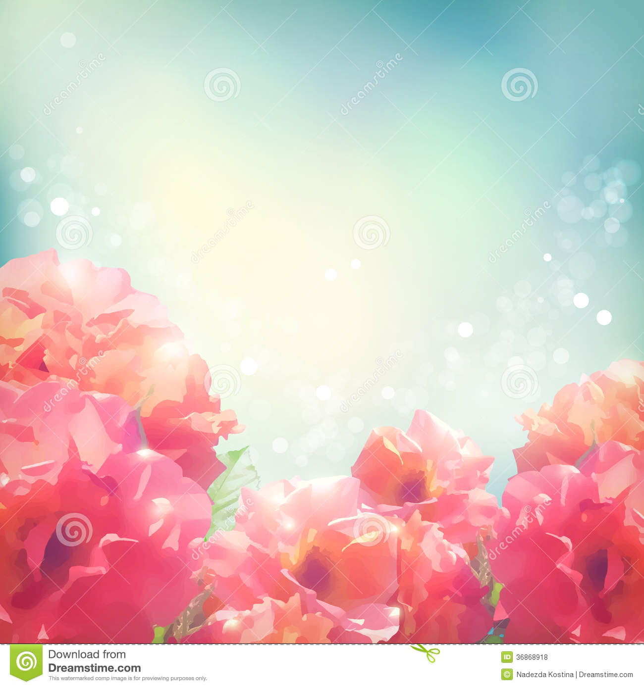 Shining Flowers Roses (peonies) Background Royalty Free