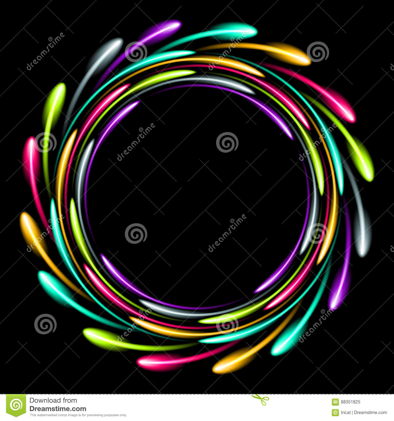 Shining glowing neon ring. Abstract background with a luminous effect.