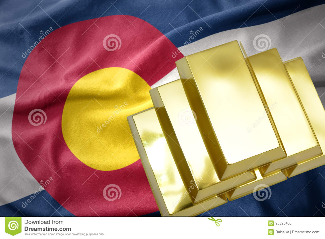 Shining golden bullions on the colorado state flag