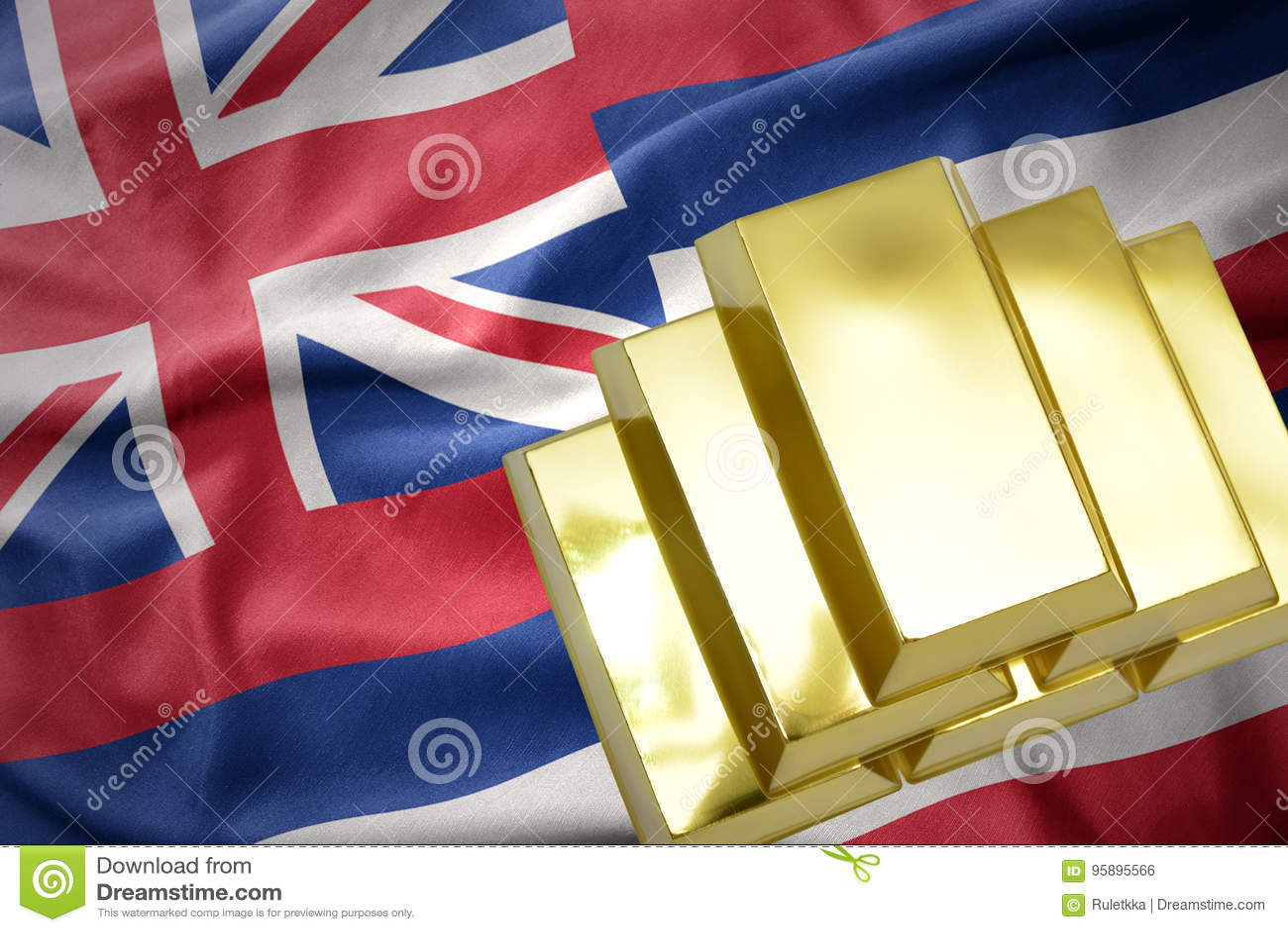 Shining golden bullions on the hawaii state flag
