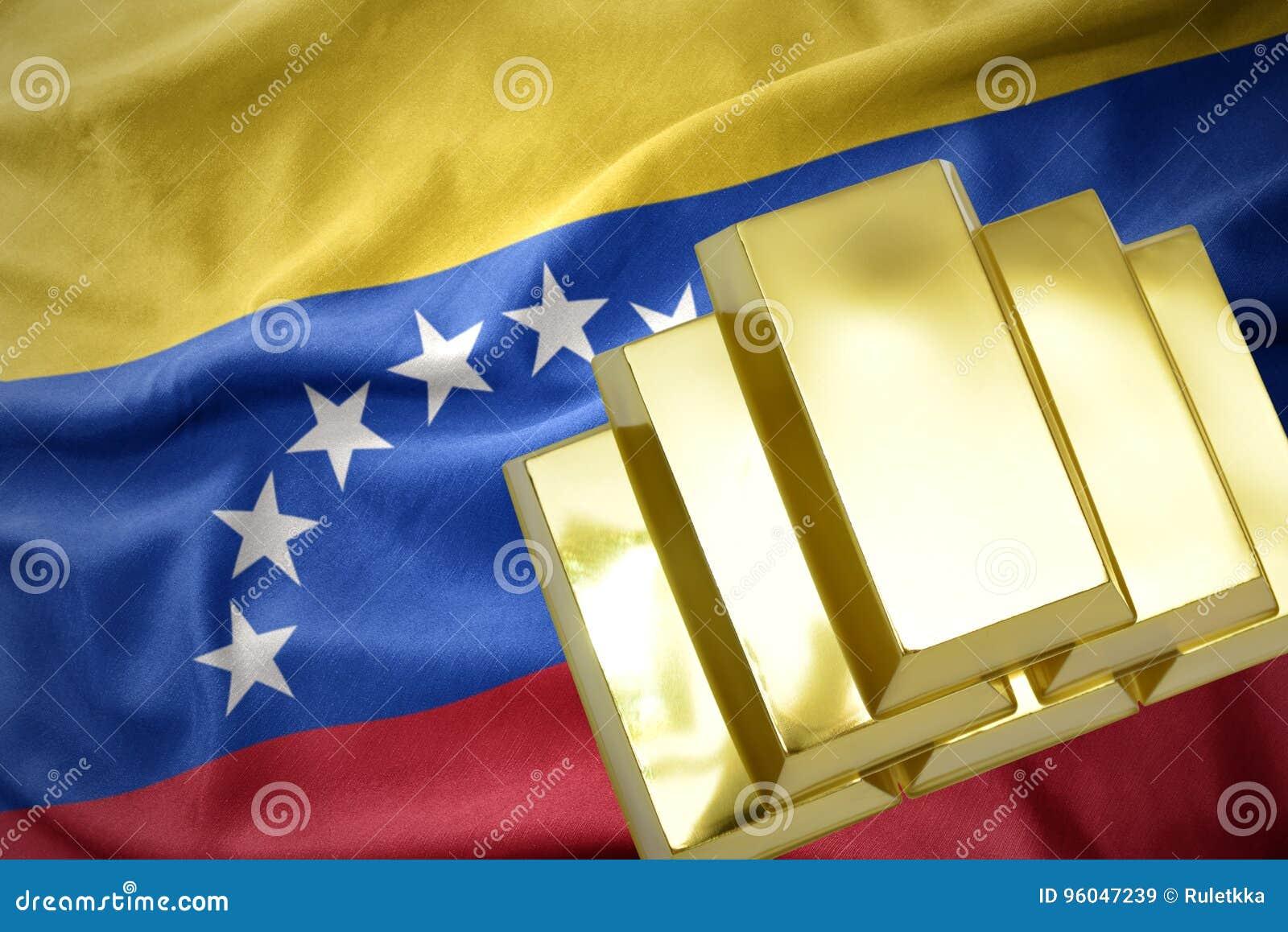 Shining golden bullions on the venezuela flag