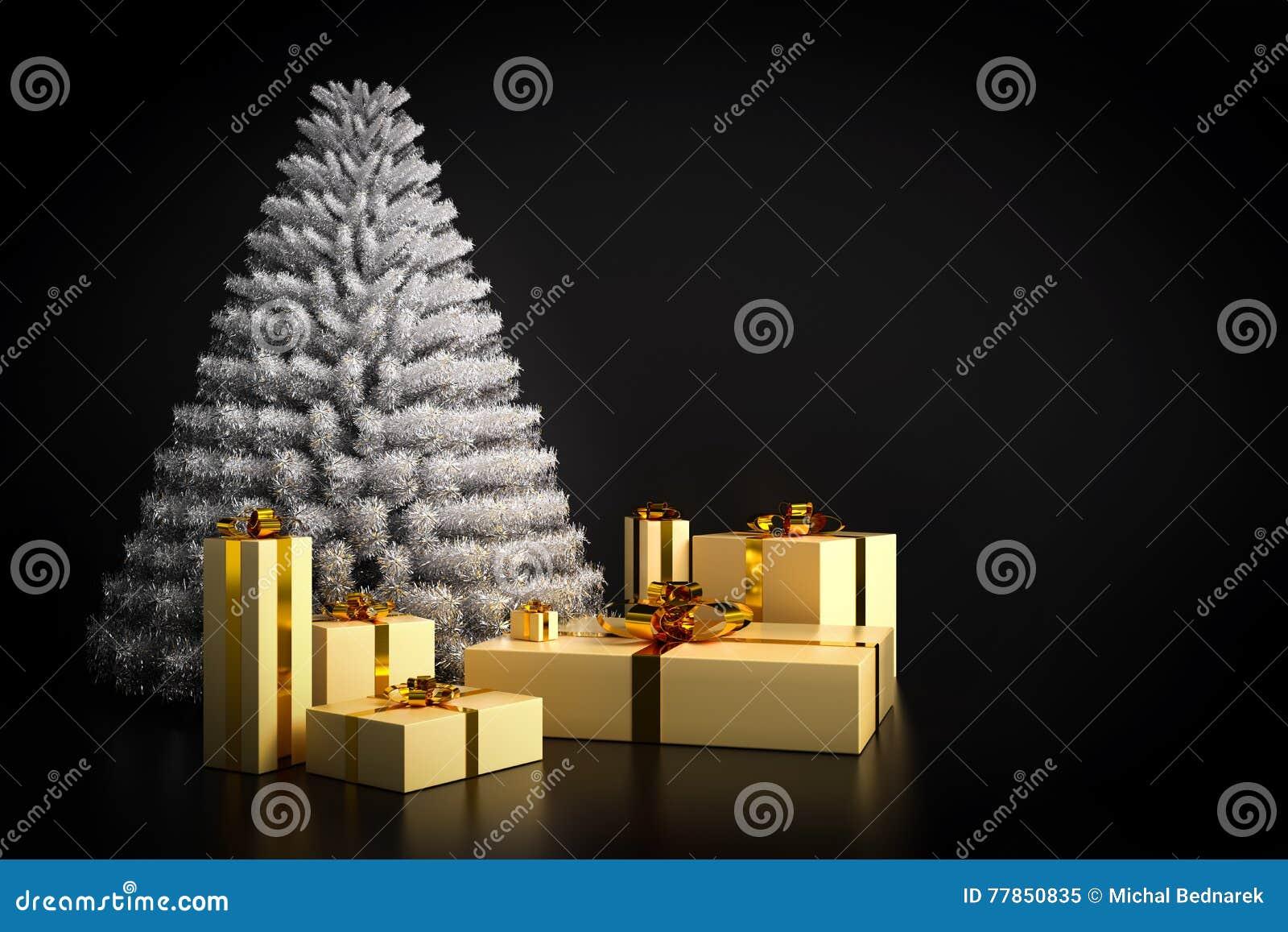Shining Modern Christmas Tree And Presents On Black