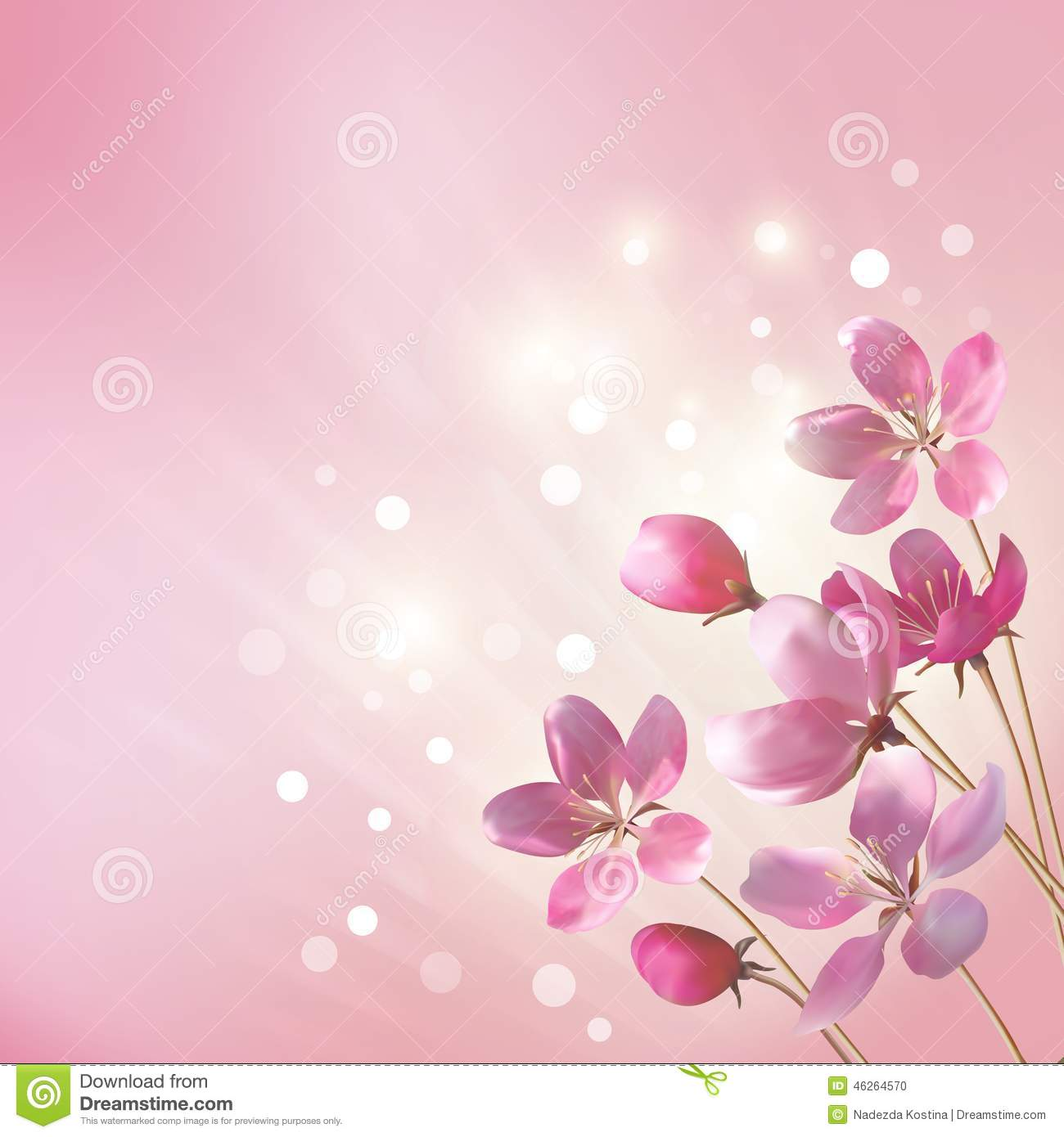 Shining Pink Flowers Background Stock Vector