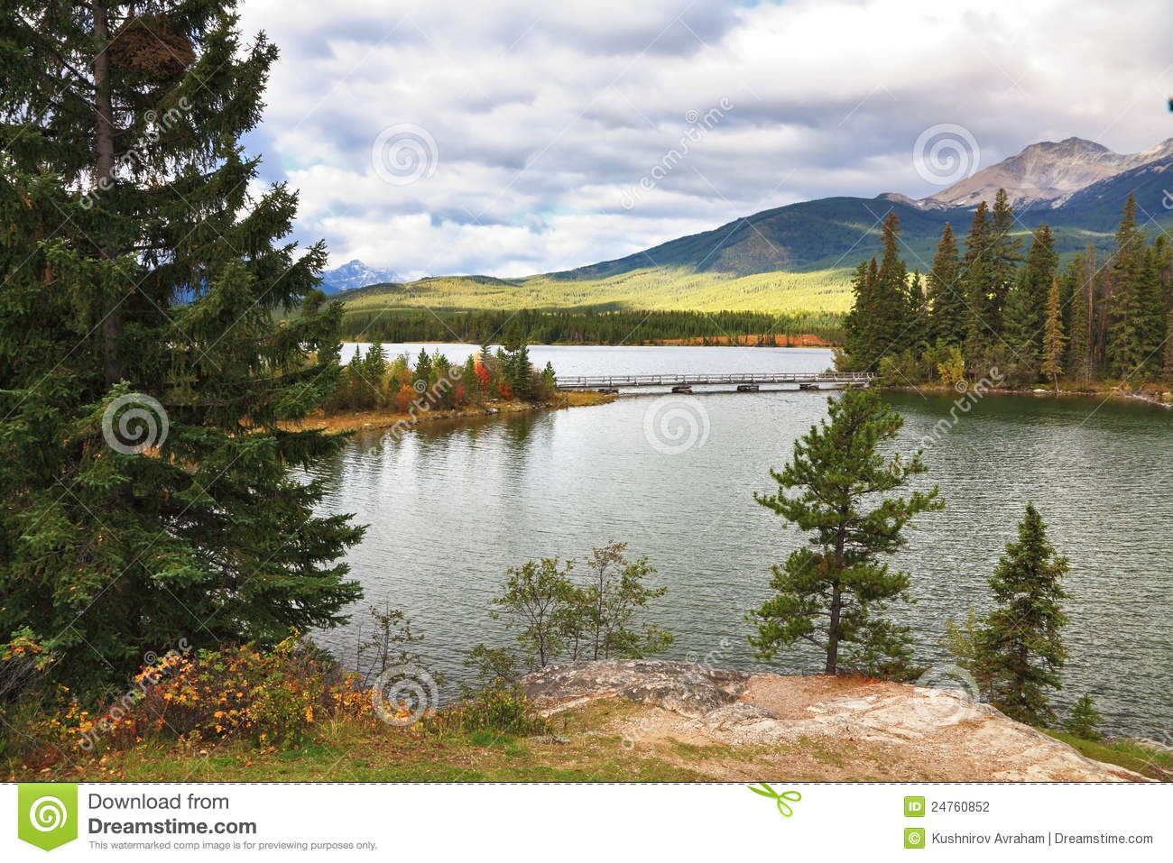 Shining silvery surface of the lake