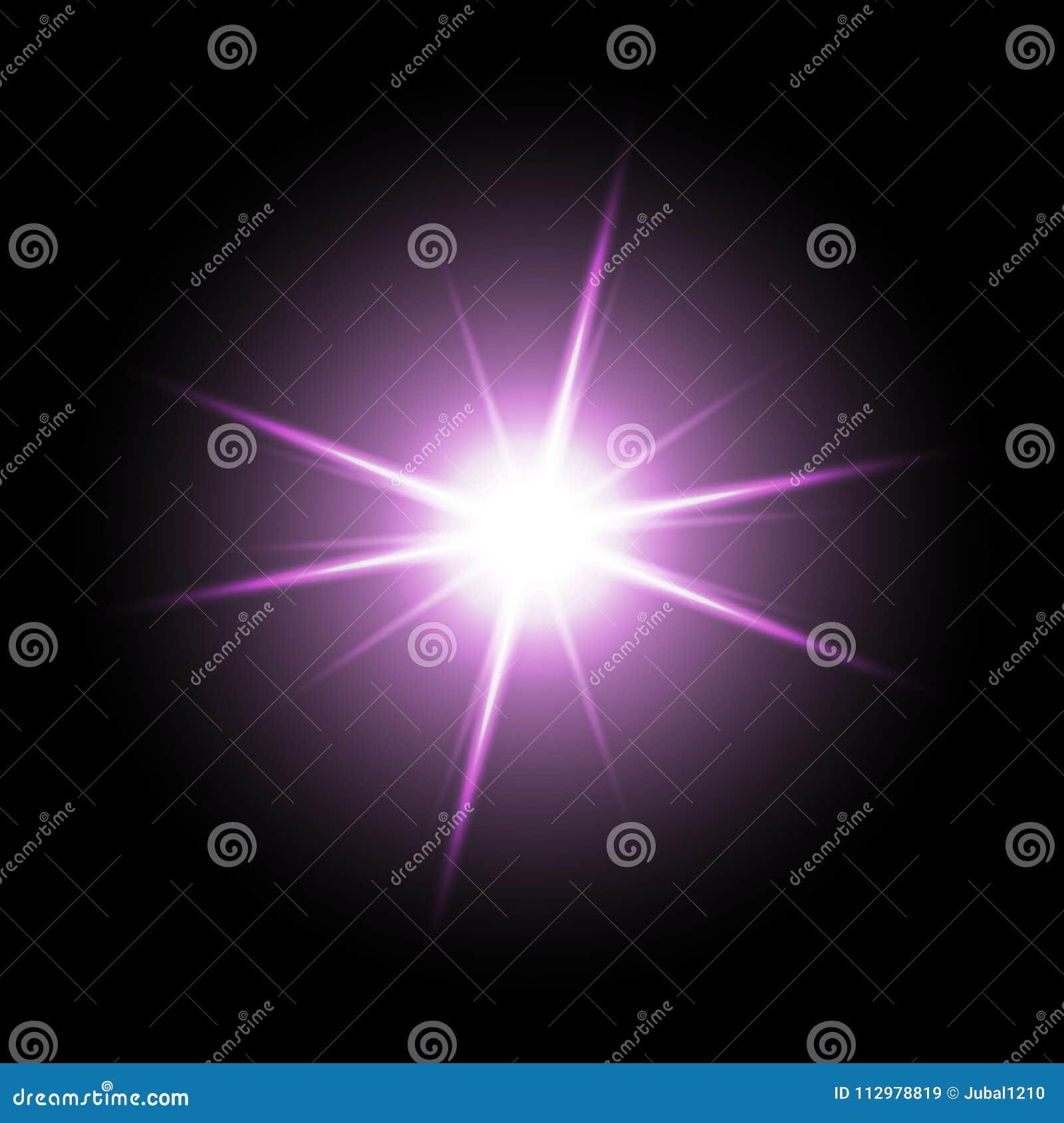 Shining star on black background, purple color