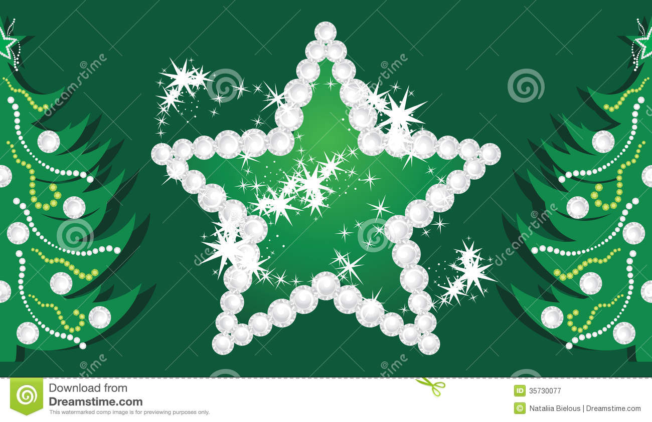 Shining Star And Christmas Trees On The Dark Green Royalty