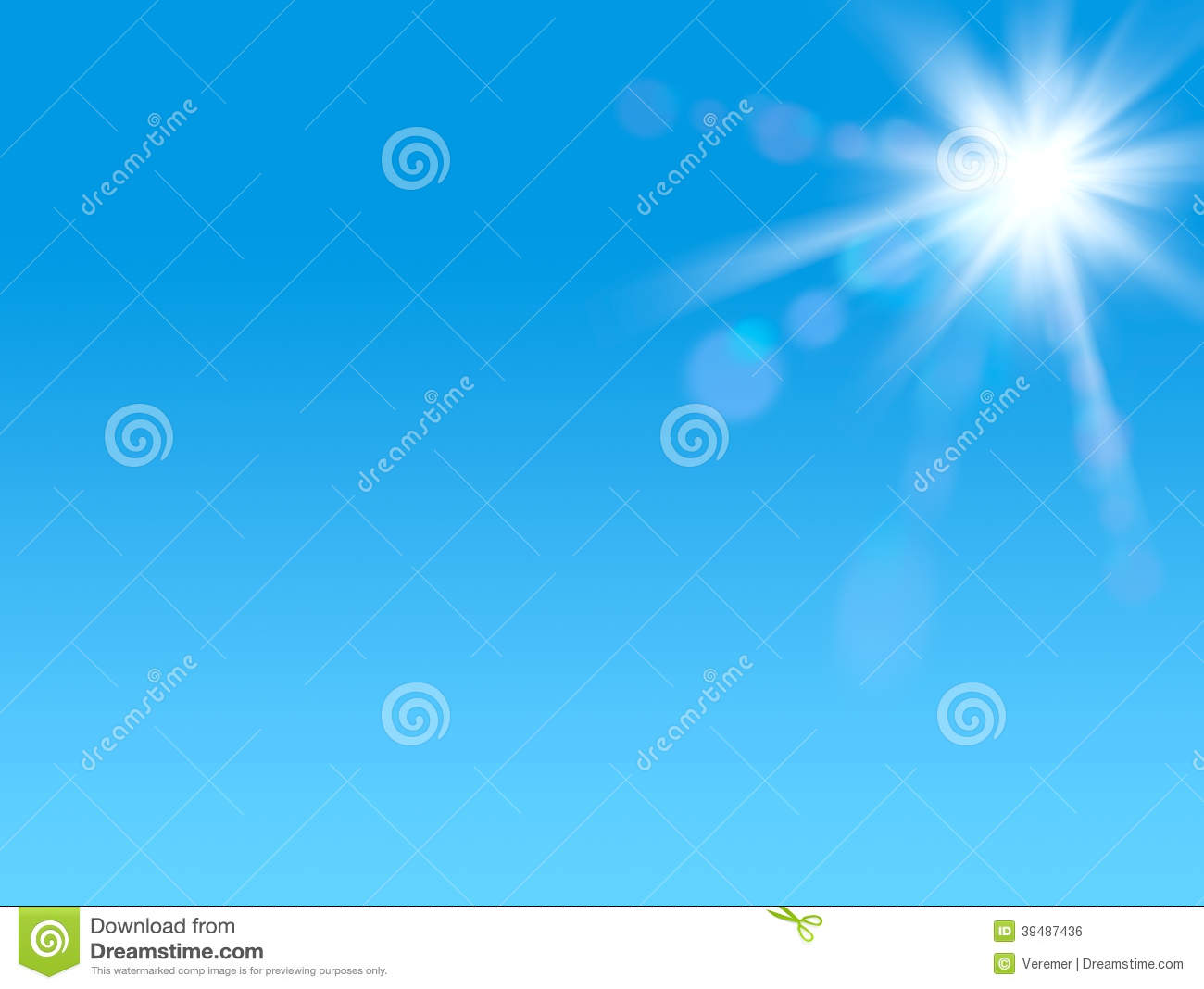 Shining sun at clear blue sky with copy space