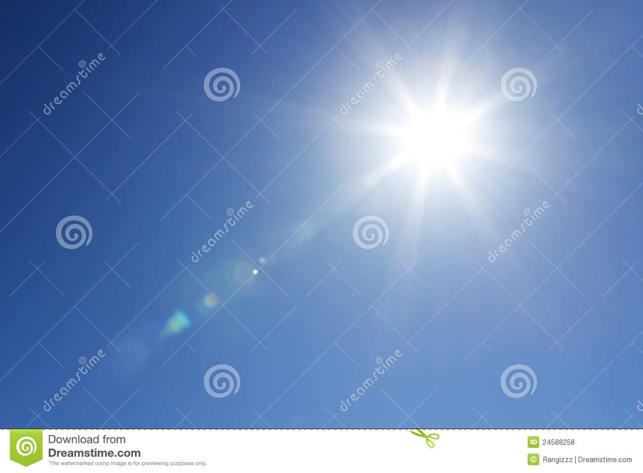 Shining sun at clear sky with copy space