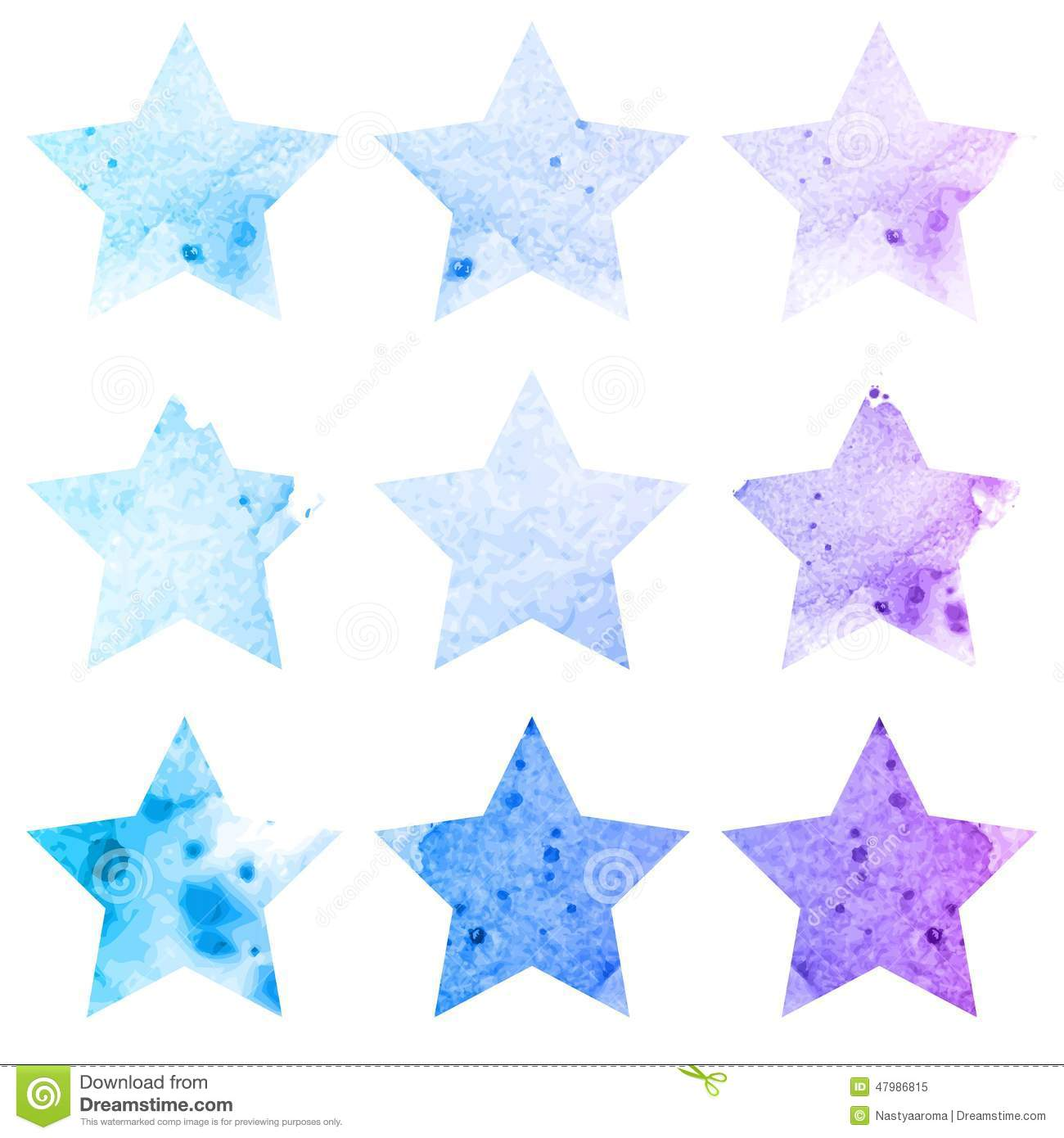 Shining watercolor stars icon set. Vector