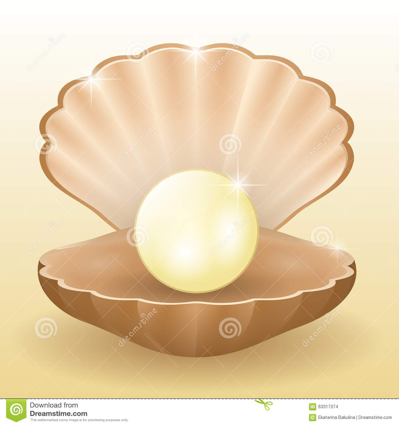 Shining White Pearl In The Shell Stock Vector - Image ...