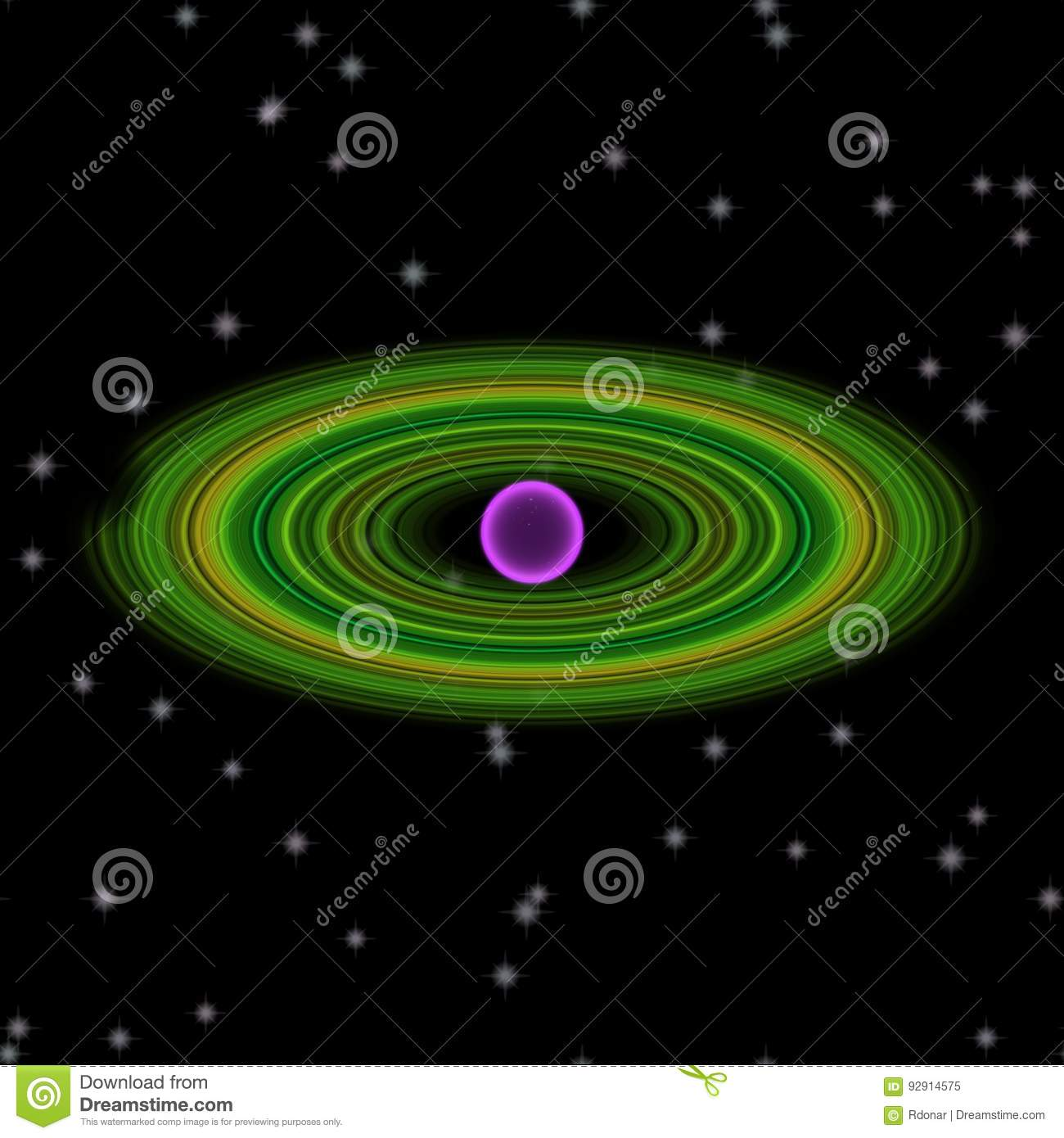 Shinning planet in far uniferse. Abstract planet with colorful ring somewhere