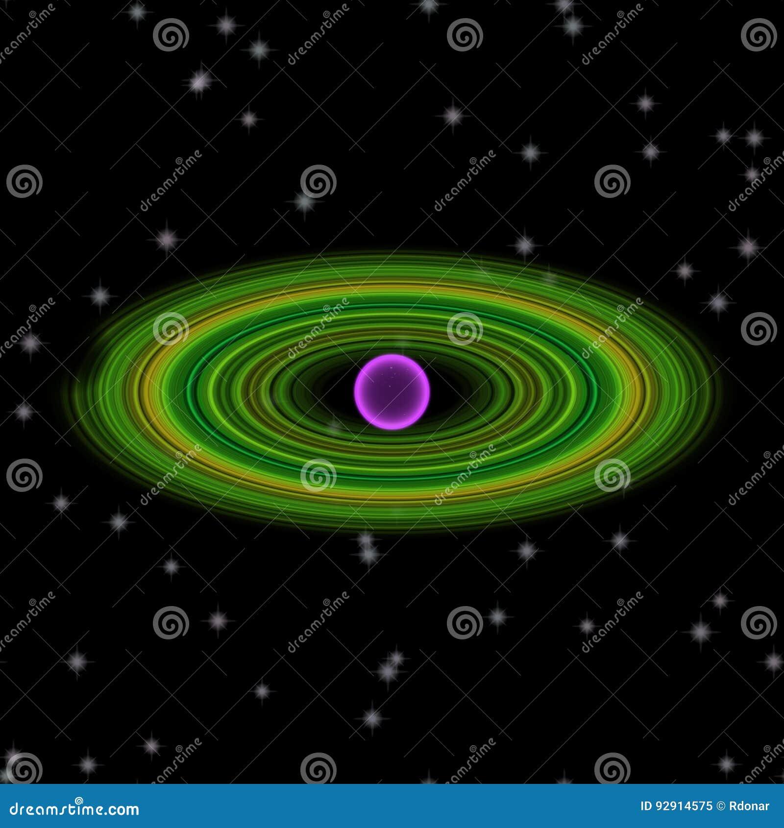 Shinning planet i avlägsen uniferse Abstrakt planet med den färgrika cirkeln någonstans