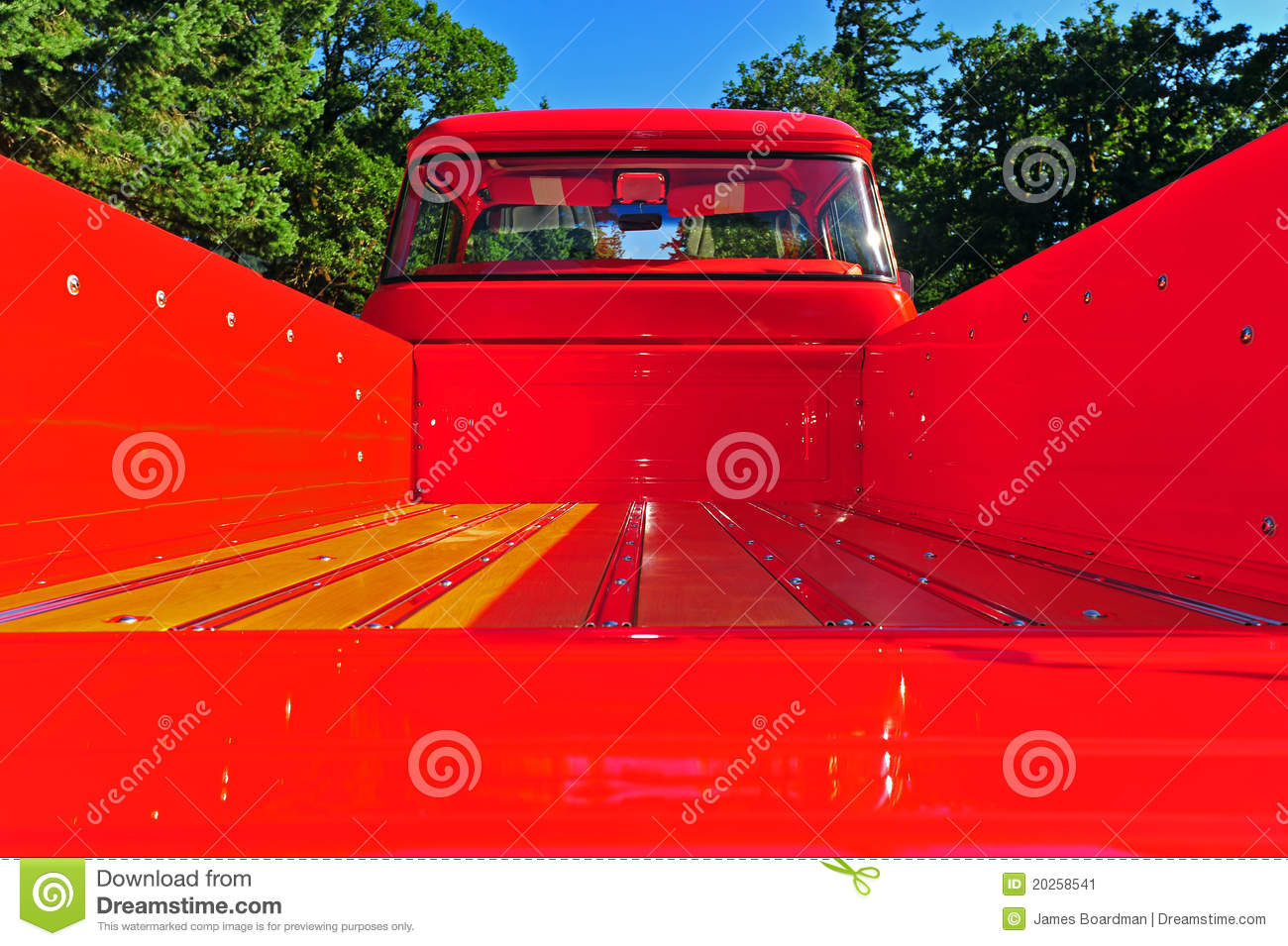 Shinny Red And Wood Floor Board Truck Bed Stock Image ...