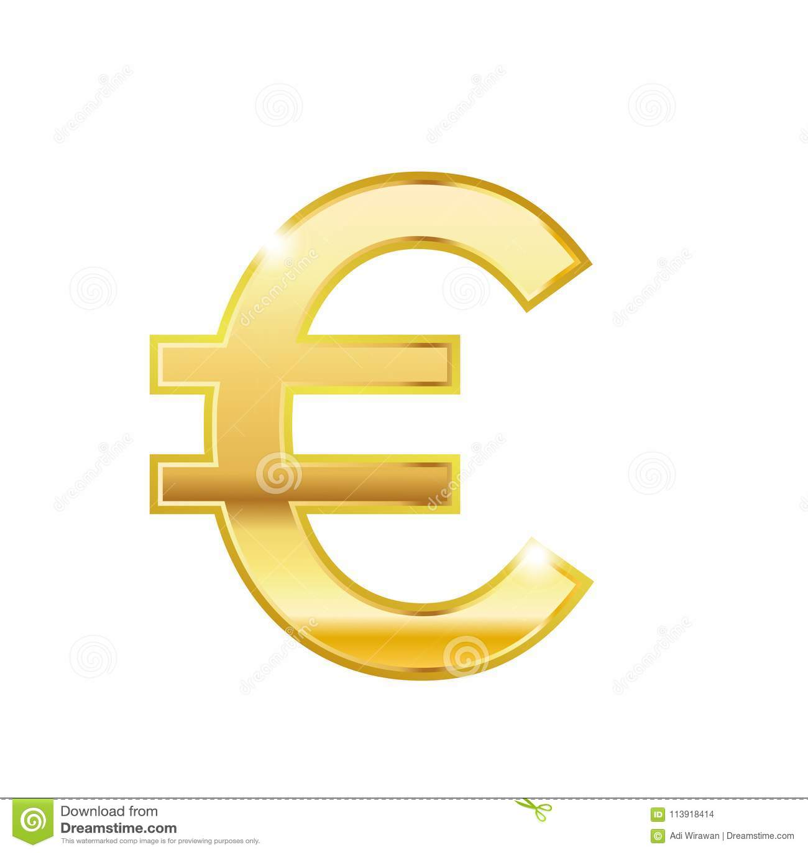 d356e1567 Shinny złocistą euro modną 3d stylu wektoru ikonę Złoty euro waluta znak  Waluta symbolu ikony wektorowy