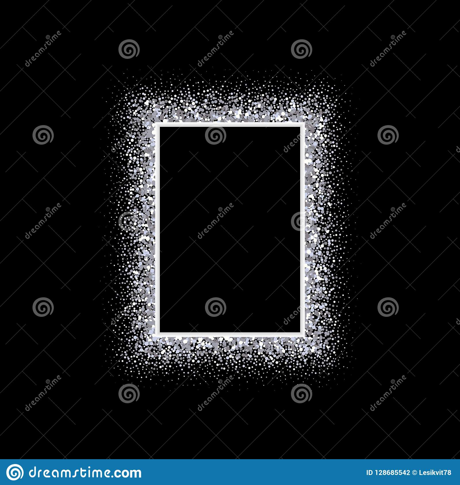 Glitters Background With Silver Glitter Frame Vector Decoration Great For Christmas And Birthday Cards Wedding Invitation Party Posters
