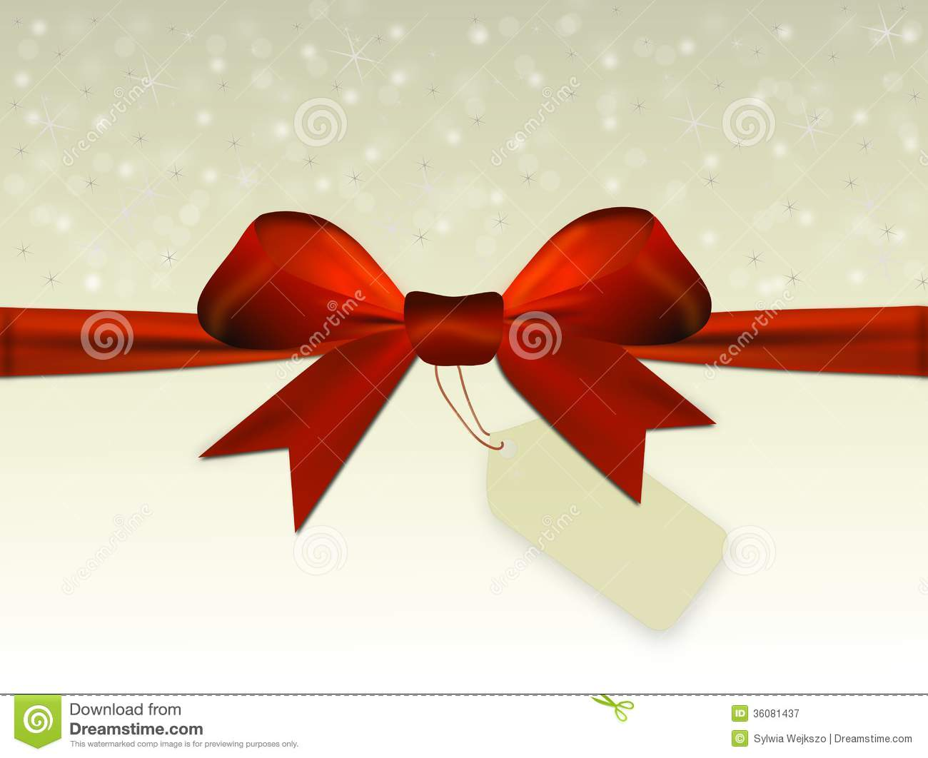 Beautiful christmas bells royalty free stock - Red Bow With Label Royalty Free Stock Photography Image 36081437