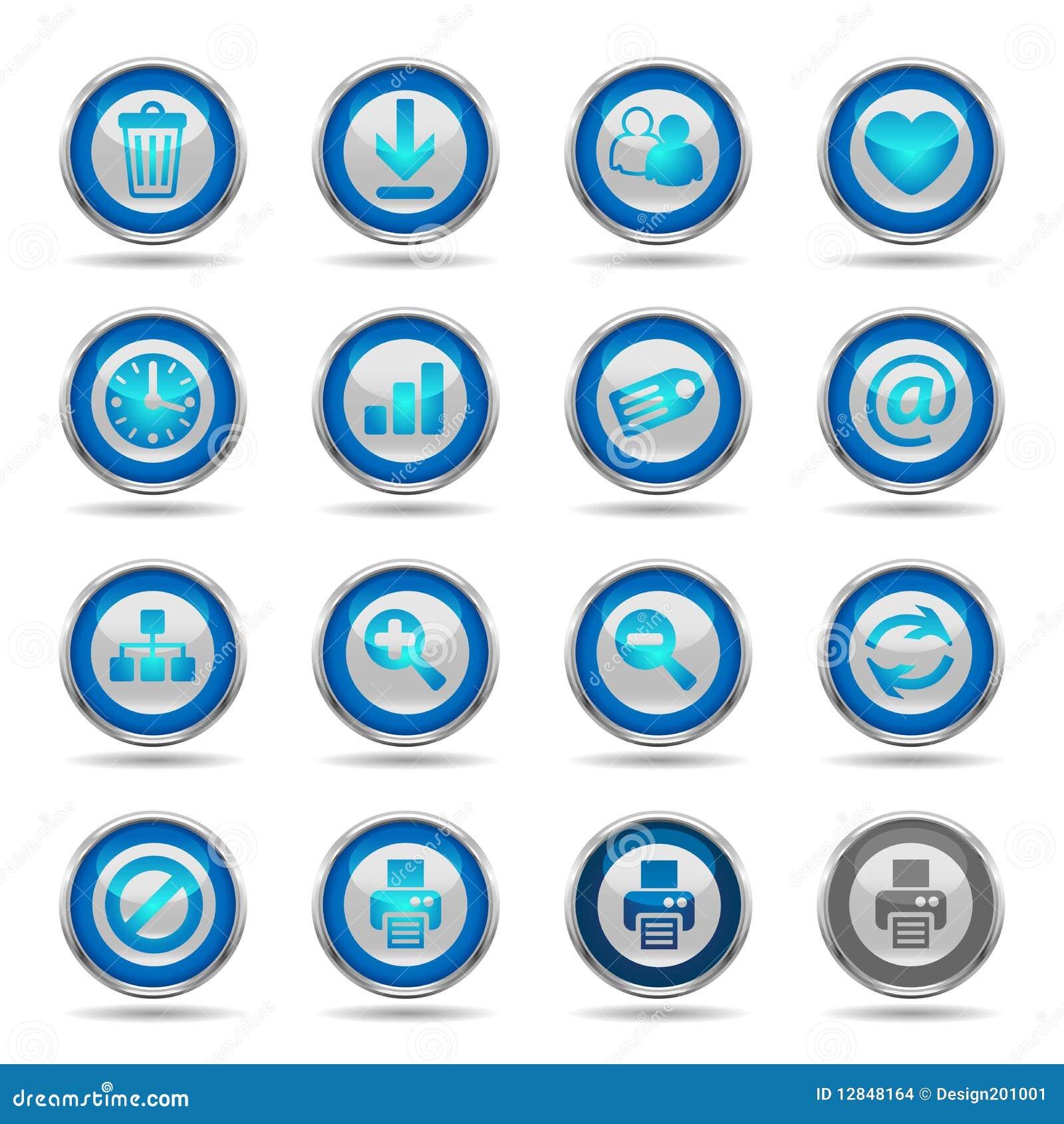 Shiny Blue Icons Set 2 - Web