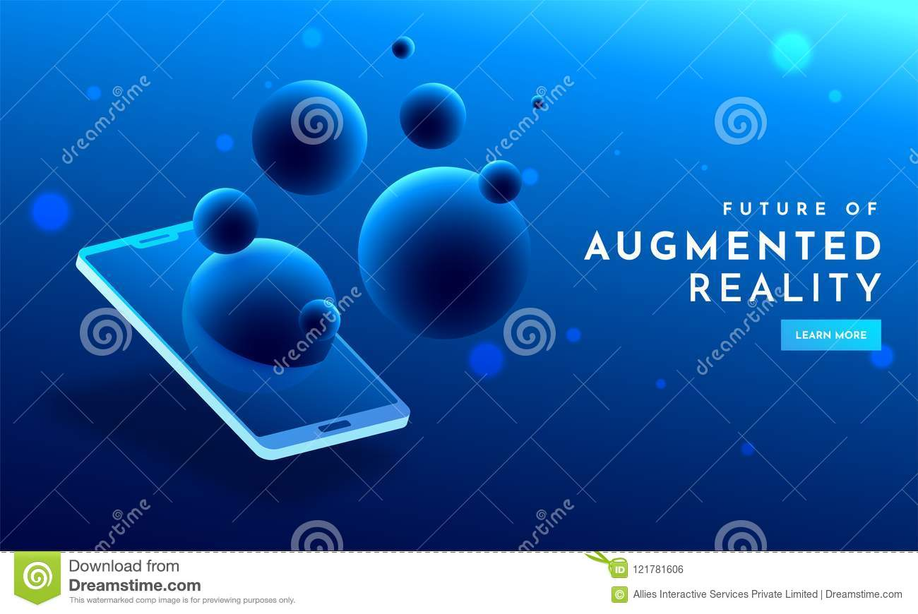 5da71c09b791 Shiny blue web template design with isometric view of smartphone and 3D  bubbles for Augmented Reality era concept.