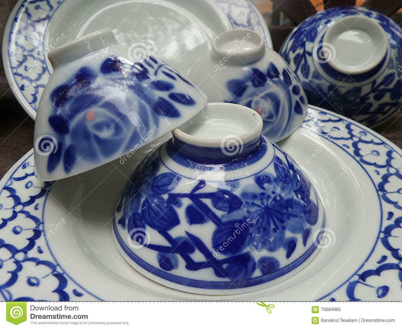 Shiny blue and white fine China bowl and plate tableware