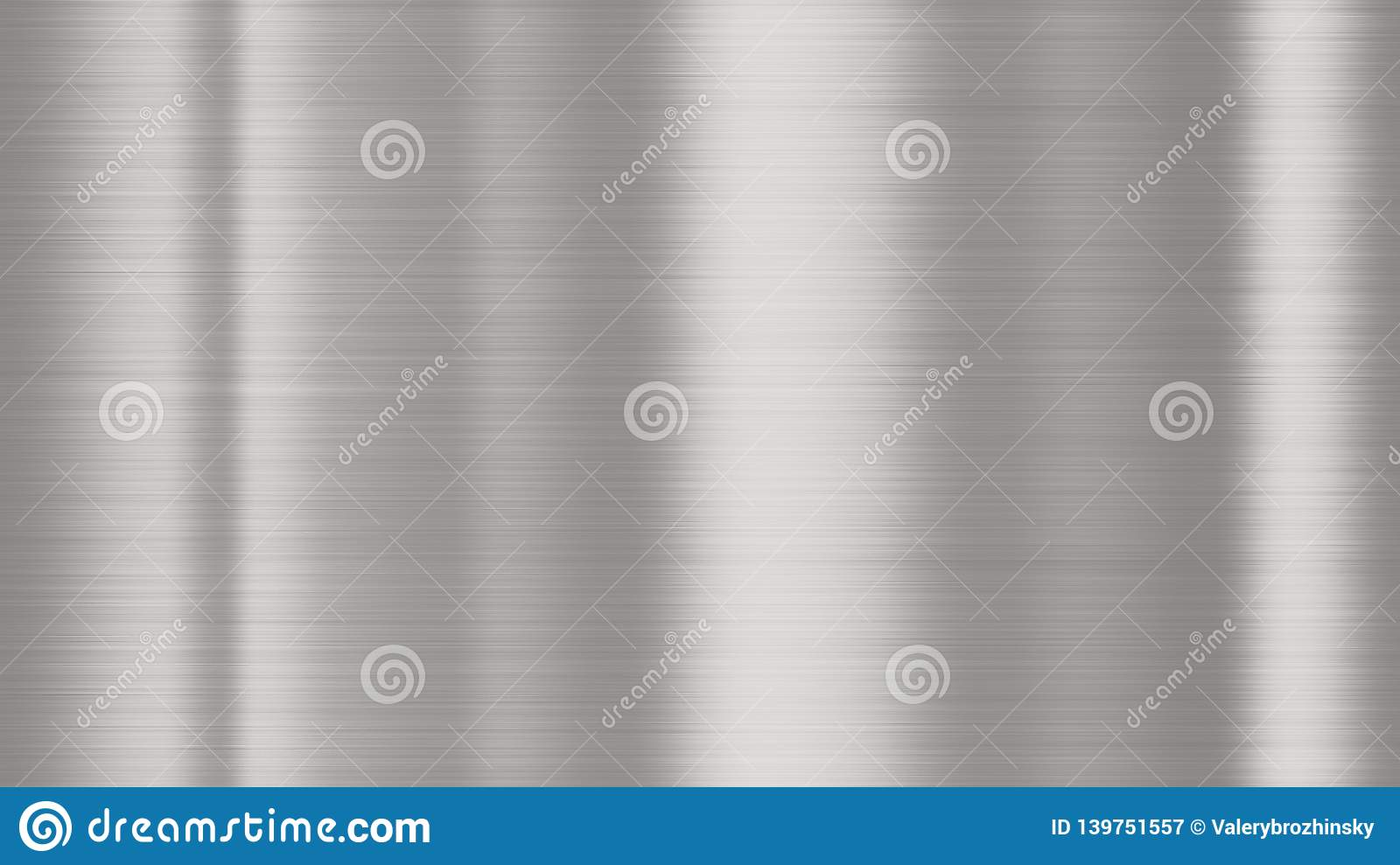 Shiny brushed metal background texture. Polished metallic steel plate sheet metal glossy shiny silver