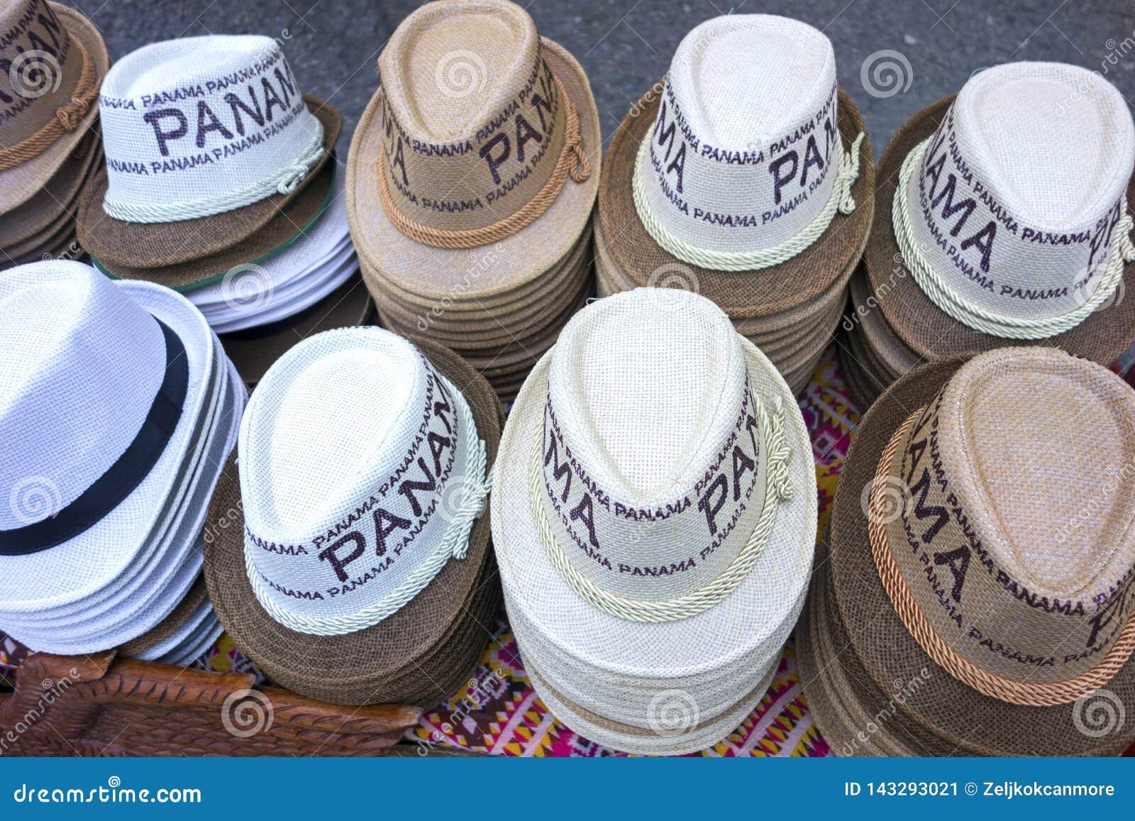 a0d23db3243a46 Shiny Casual Brimmed Hats Clothing Row Tourist Souvenir Shop Panama ...