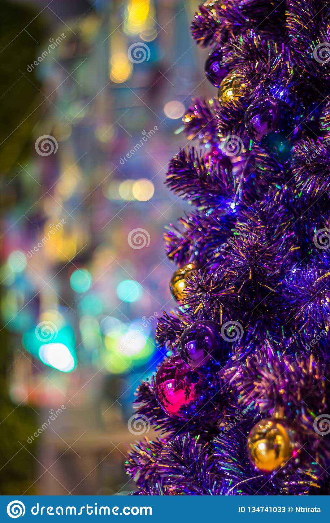 Colorful Christmas Tree Decorations.Shiny Christmas Balls On Colorful Christmas Tree With