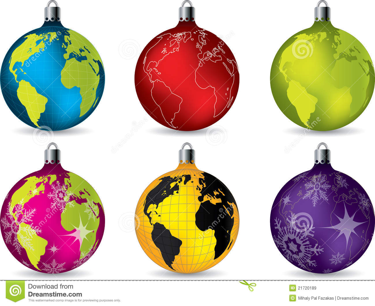 Shiny Christmas Decorations With World Map Royalty Free Stock Images