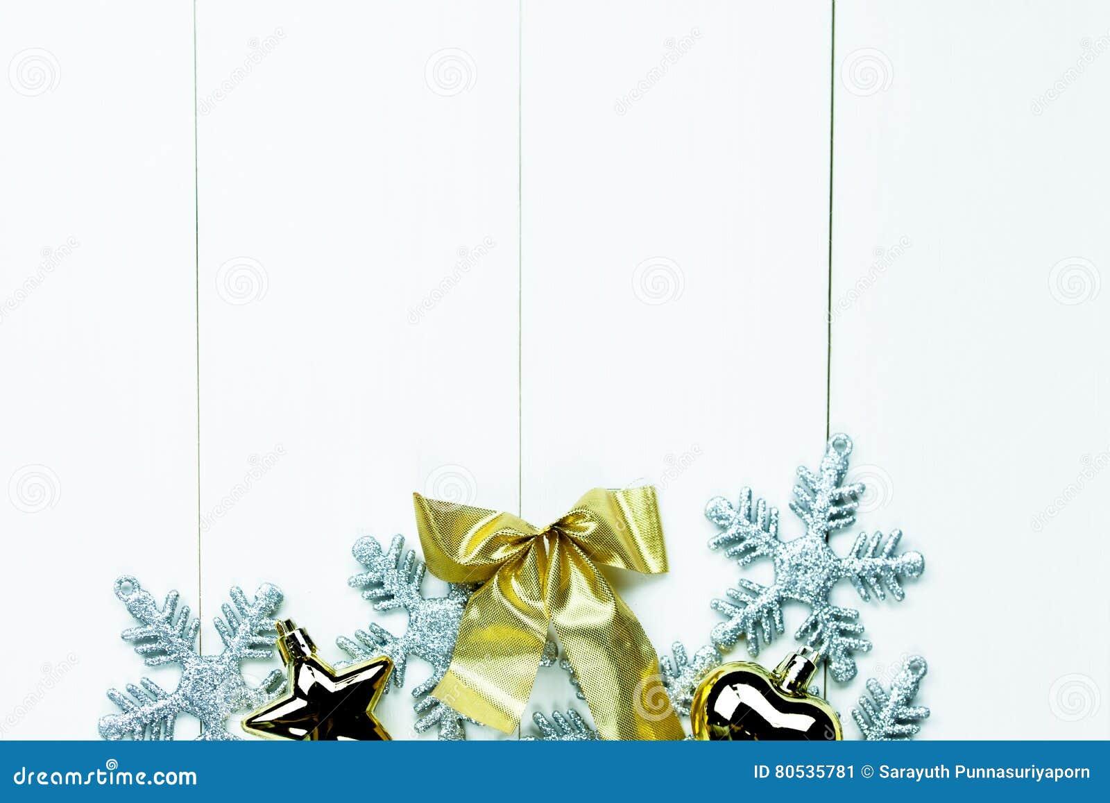 Shiny Christmas Holiday Ornaments On White Wood Background Ready