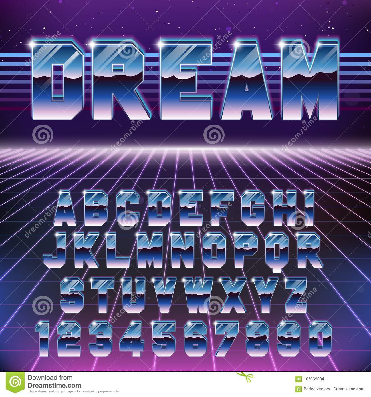 Shiny Chrome Retro Futuristic Font  Stylish Retro Synth Wave